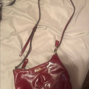 Coach Ashley Patent Leather Crimson Crossbody Bag